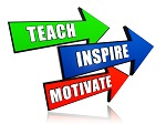 teach, inspire, motivate - text in 3d arrows, education motivation concept words